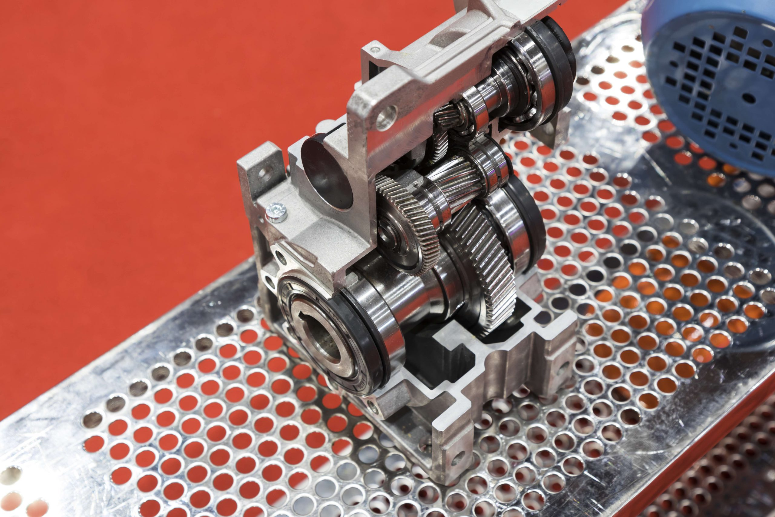 cross section of worm gear pump ; selective focus